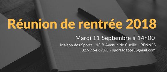 Réunion de rentrée le Mardi 11/09 à 14h – Maison des Sports à Rennes. Vous trouverez ci-dessous les documents distribués : Présentation powerpoint Calendrier 2018/2019 Coordonnées des clubs Sport Adapté […]